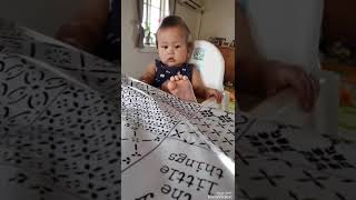 Talking eating and playing