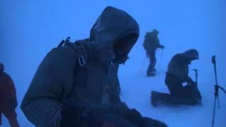 Saddle of Elbrus in snowing