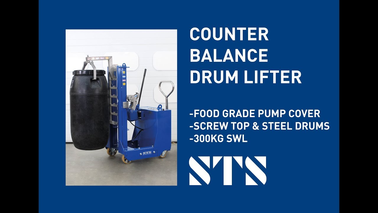 Counterbalance Drum Lifter for Food Grade Areas w/Screw Top Drums