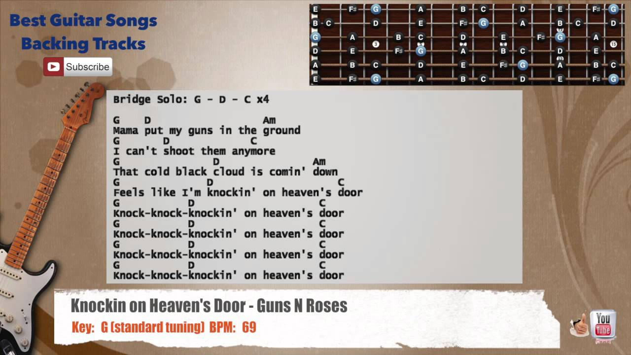Knocking On Heavens Door Guns Nroses Guitar Backing Track With