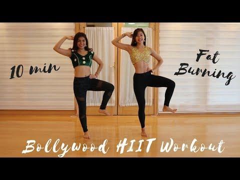 10 MIN BOLLYWOOD HIIT WORKOUT FOR FAT BURNING CARDIO BLAST! Full Body At Home Exercises ft Hanisha