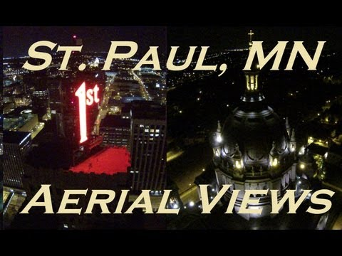 St. Paul Aerial Views At Night - DJI Phantom + Zenmuse H3-2D Gimbal + FPV