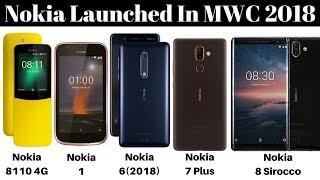 Nokia Launched Nokia 8110 4G Phone,Nokia 1,Nokia 6 (2018),Nokia 7 Plus,Nokia 8 Sirocco In MWC 2018..