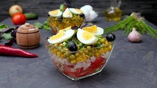 Как приготовить многослойный салат с тунцом - Рецепты от Со Вкусом