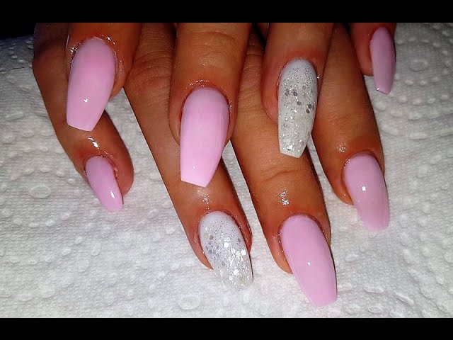 Pink And White Glitter Nail Design Long Coffin Shaped Acrylic Nails ...