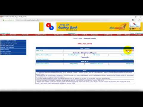 Step2 Transfer money from Andhra Bank to SBH Sending Money