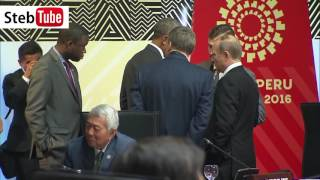 ПРИКОЛ.Разговор Путина и Обамы перед началом заседания АТЭС.