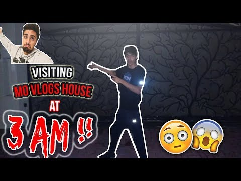 VISITING MO VLOGS HOUSE AT 3 AM !! * Security Guard Came Outside !!*