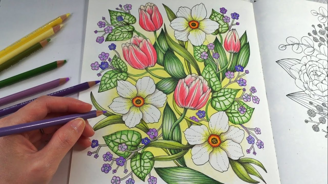 Colored Pencils For Grown Up Coloring HAPPY GARDEN Blomstermandala Coloring Book Coloring