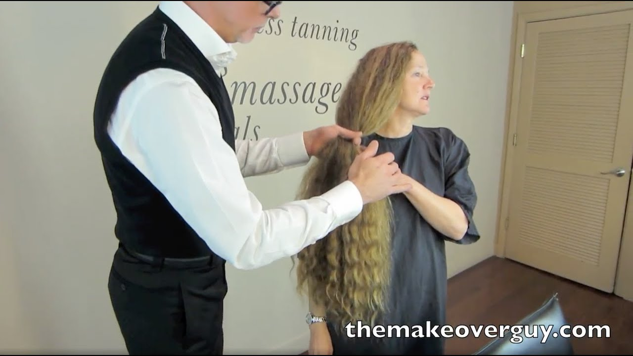 dramatic long hair cut short makeover by christopher makeover longest hair i ve ever cut by christopher