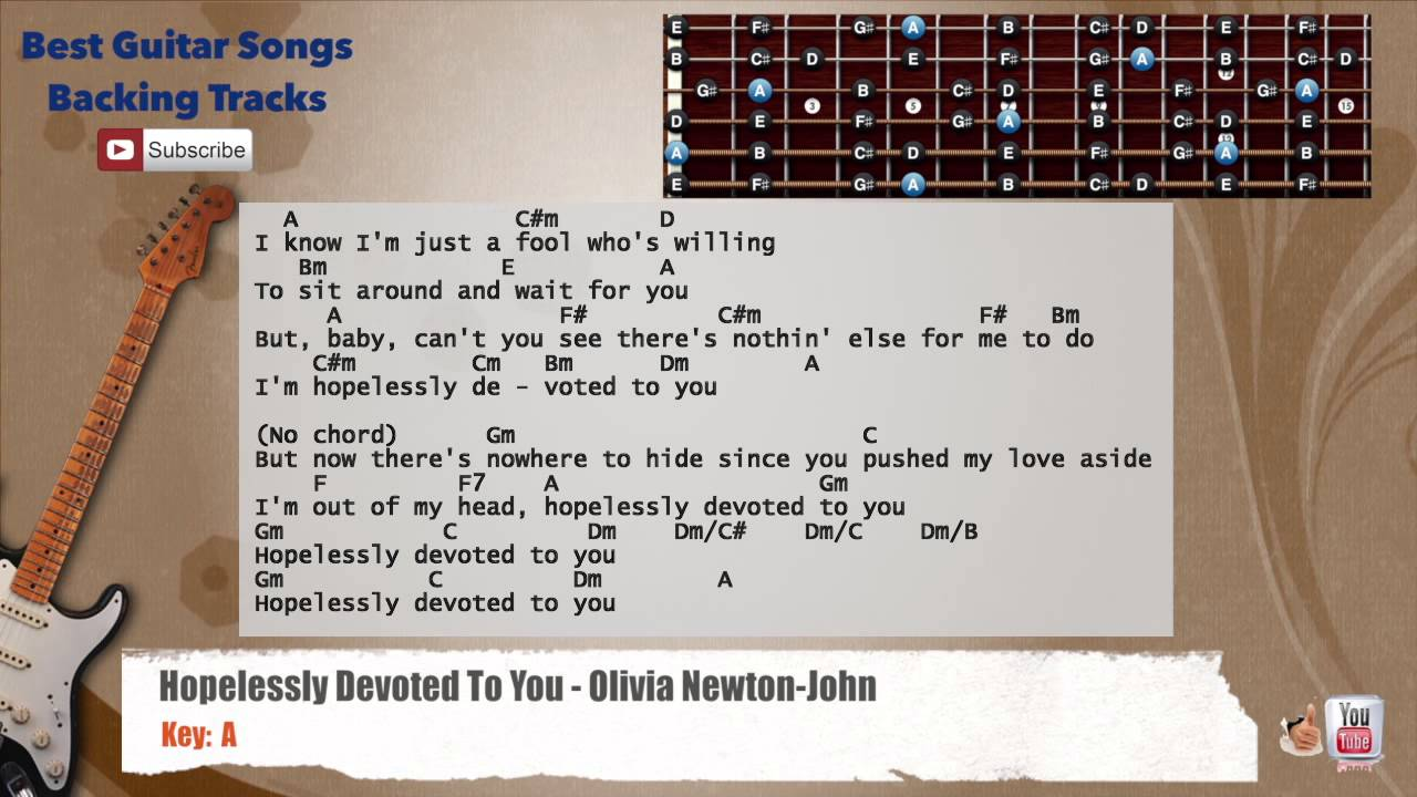 Hopelessly Devoted To You Olivia Newton John Guitar Backing Track