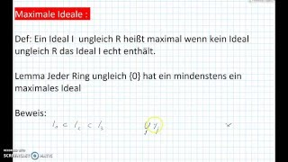 Kommutative Ringe: Maximale Ideale Mathe, Algebra Mathekanal