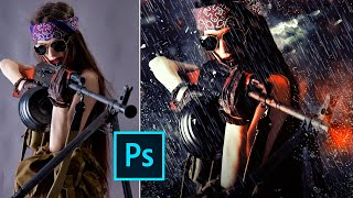 Photoshop PSD: Девушка, Ствол,  Дождь. Романтика !!! Free Download