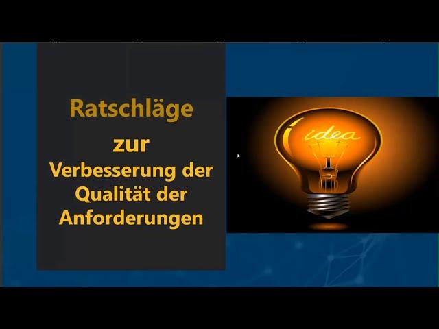 Webinar in German: Erste Schritte Richtung hochqualitative Anforderungen und erfolgreiche Projekte