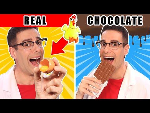 COMIDA DE CHOCOLATE VS COMIDA DE VERDAD   Challenge Bromas De Chocolate El Gallinero De Mike