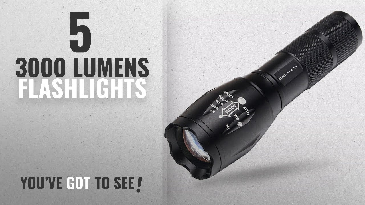 Flashlights2018Didakay Lumens Bright Flashlight Top Led Tactical Ultra 3000 5 cL5q4j3RA