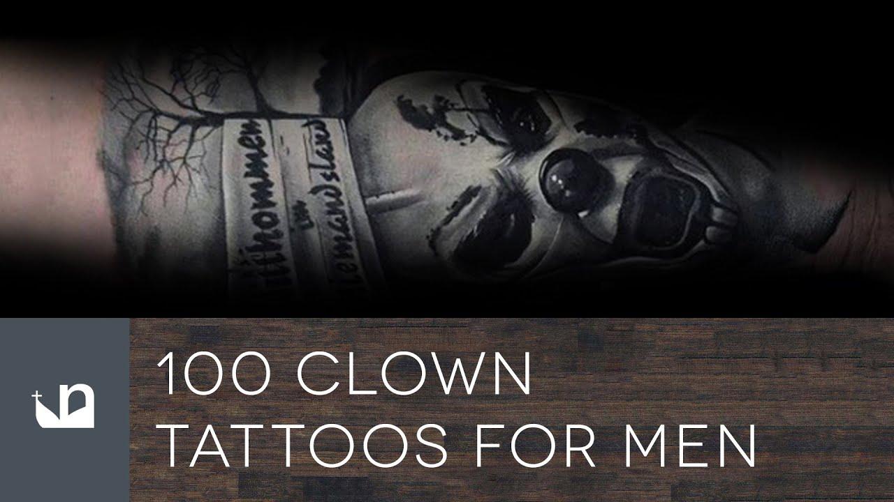 100 clown tattoos for men youtube for Clown tattoos for men