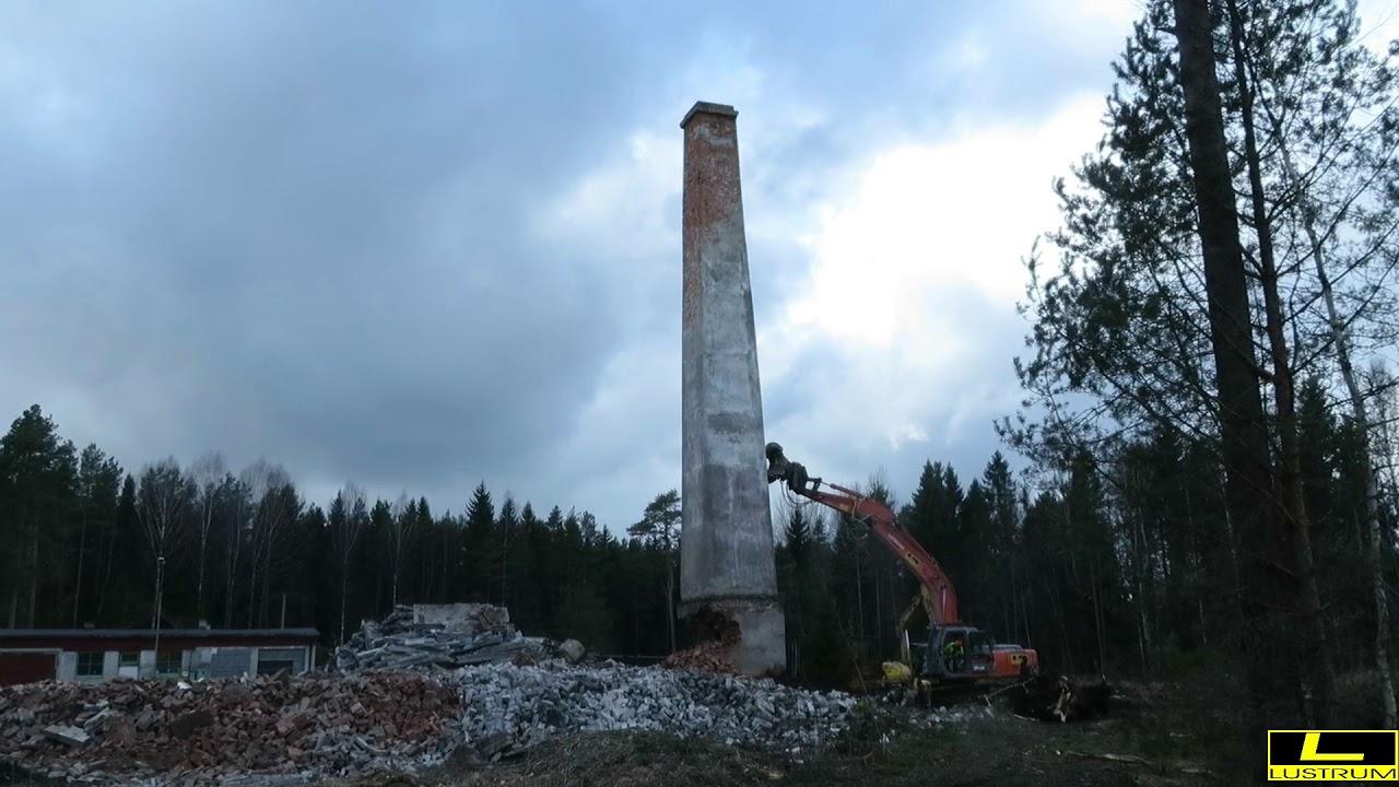 Lammutustööd Lustrum Teenused, korstna lammutamine langetamisega.