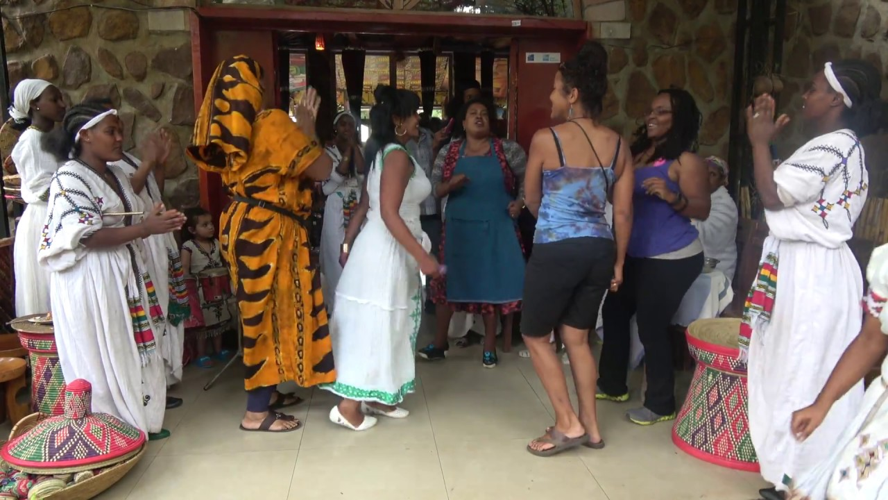 traditional dancing at the four sisters restaurant - ethiopia may