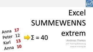 Excel # 538 - SUMMEWENNS als Array Formel mit mehreren ODER-Bedingungen