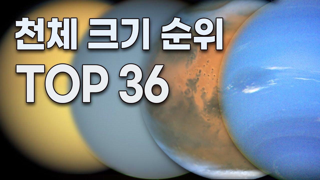 천체 크기 순위 TOP 36 - 소행성, 위성, 행성, 항성 등 모든 태양계 천체 중 상위 36