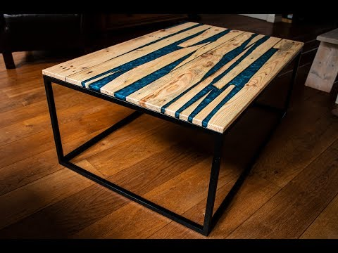 Pallet wood & metallic blue epoxy coffee table