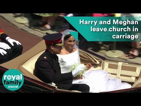Prince Harry and Meghan Markle depart church in carriage
