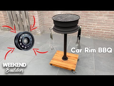 DIY Car Rim BBQ - We used a old TIRE RIM and it turned out amazing 😉 [subtitles included]