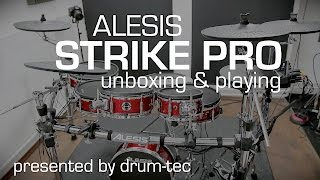 Alesis Strike Pro electronic drums unboxing // setup // playing with drum-tec