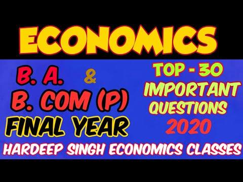 ECONOMICS Important Questions For B.Com(P) & B.A(P) Final Year_ June Exam 2017