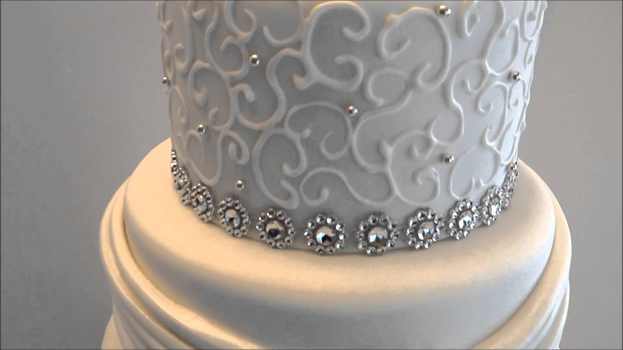 Renee\'s Gourmet Cake Elegant and Bling Wedding Cake - YouTube