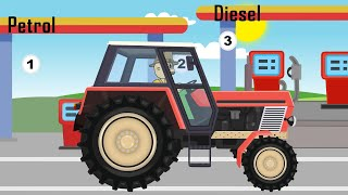☻ Tractor for Kids - Tractor with rotary mower for grass | Cartoon - ☻ Bajki Traktory