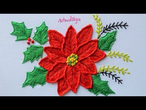 Hand Embroidery: Poinsettia flower  Bordado a mano: Flor de Nochebuena  ArtesdOlga