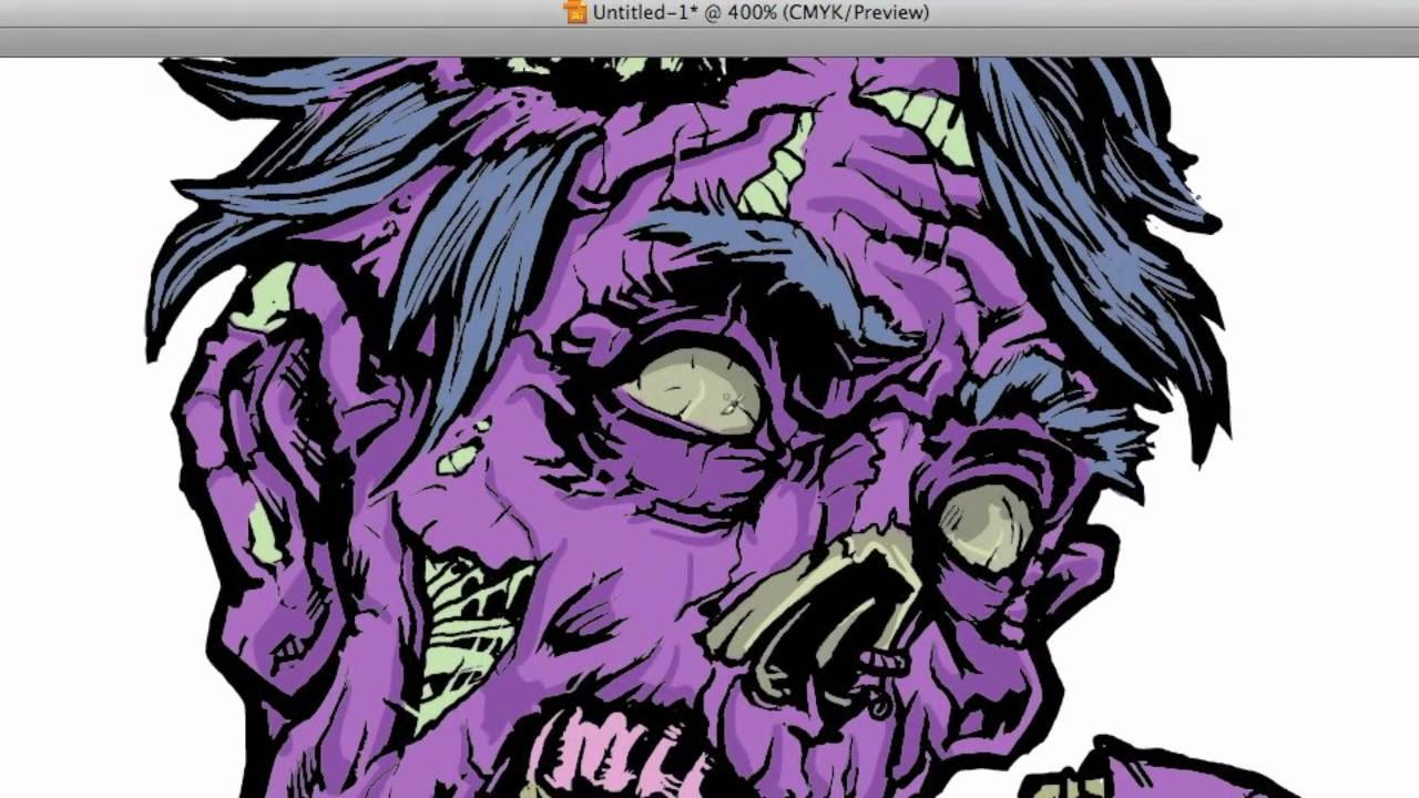 Zombie vector coloring in Illustrator Part 2 - YouTube
