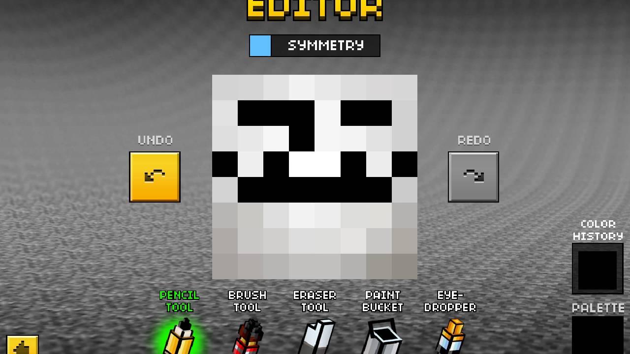 troll face skin in pixel gun 3d