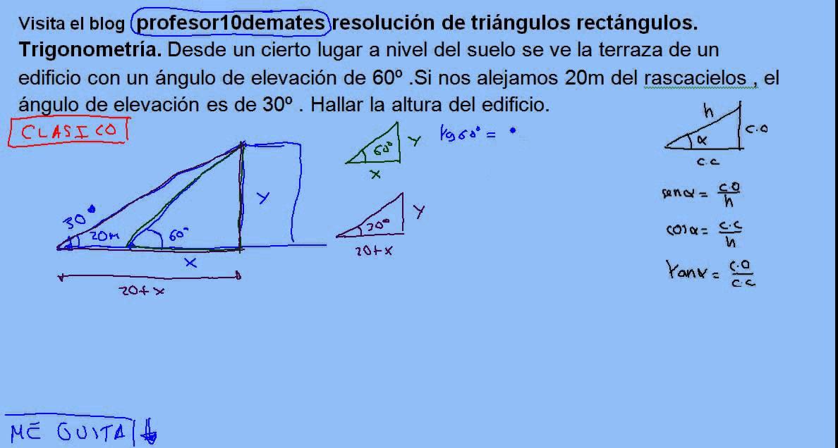 Resolución De Triángulos Rectángulos Trigonometría 16 Problemas Topográficos