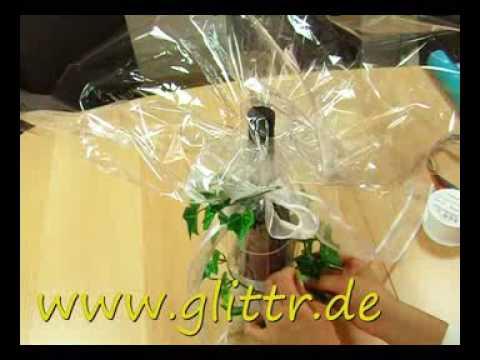 Geschenke verpacken: Flasche Beispiel 2 - YouTube
