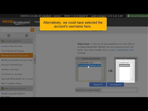 How to suspend or unsuspend a hosting account in cPanel - YouTube
