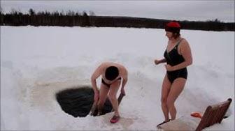 Avantouinti juoksu- ice swimming run - Pudasjärvi