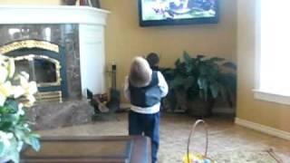 Boy singing Barney Raindrops Song