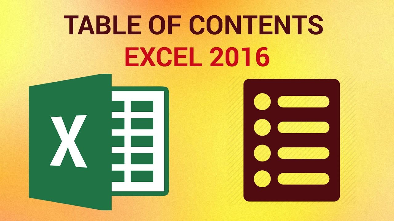 how to create a table of contents in excel 2016 youtube. Black Bedroom Furniture Sets. Home Design Ideas