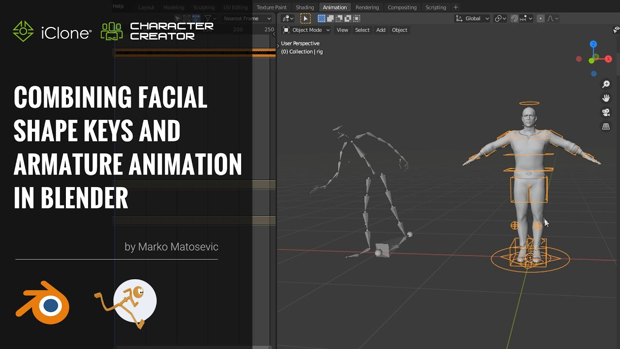 blender animation - combining facial shape keys and  armature animation in blender