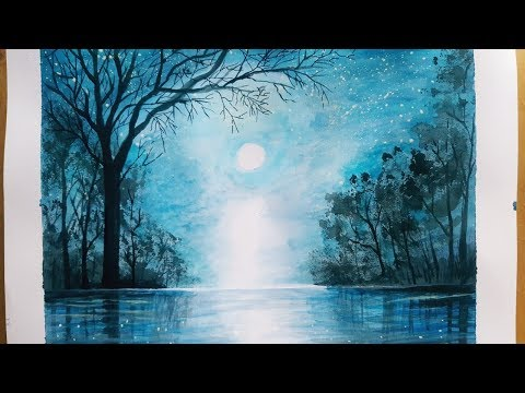 Moonlight Night Landscape Painting || Landscape tutorial Step By Step For Beginners