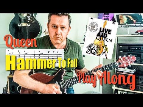 Queen Hammer To Fall Live Aid 85 Guitar Play Along (Guitar Tab) Bohemian Rhapsody Movie