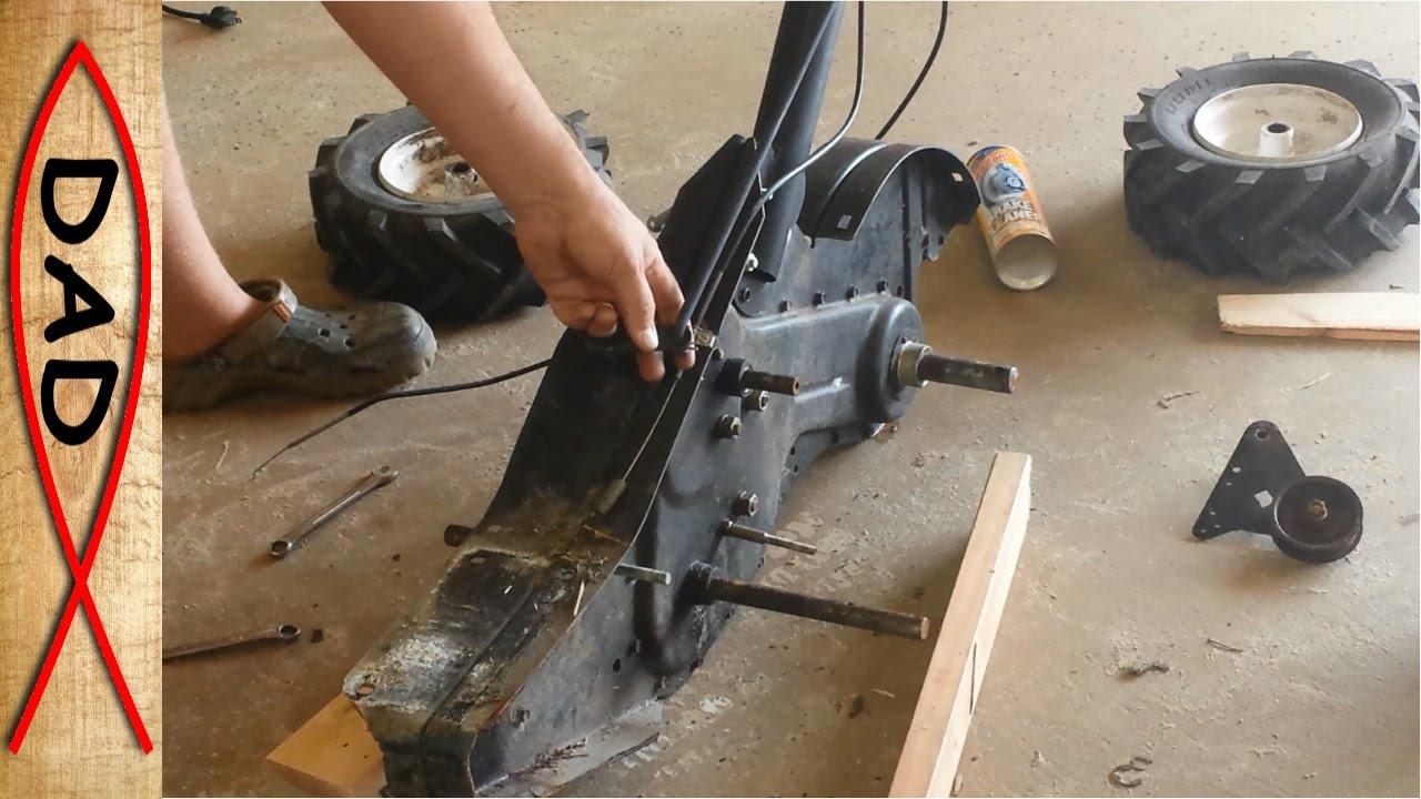 Craftsman rear tine tiller repair  stuck gears  YouTube