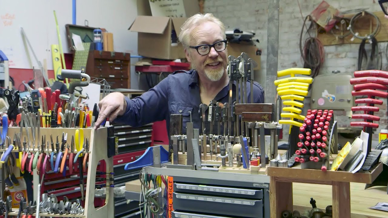 garage workbench ideas youtube - Adam Savage s Custom Tool Storage Stands