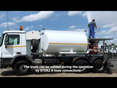 High capacity water cannon (monitor) on water tank truck. Custom-built by RAC-Germany®