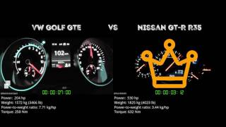 VW Golf GTE vs. Nissan GT-R R35 - the 0-100 km/h duel. Which one is...