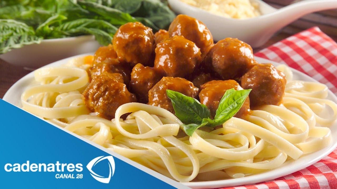 Receta de spaghetti con alb ndigas de res tipo siliciano - Tipos de estores para salon ...