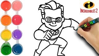 How to draw Dash from the Incredibles 2 Disney Pixar Movie | Kids learn colors